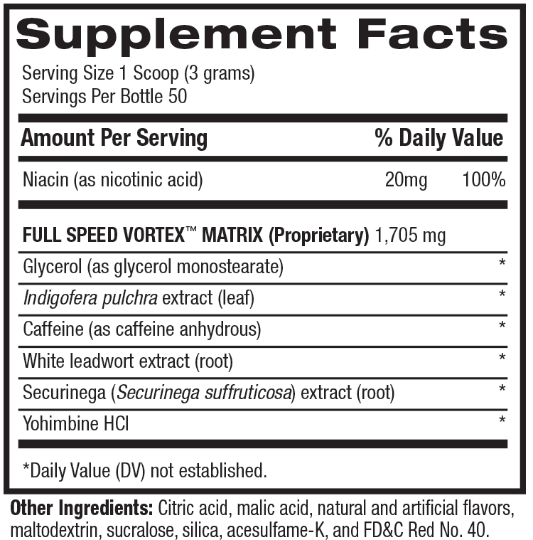 1.M.R Vortex Supplement Facts