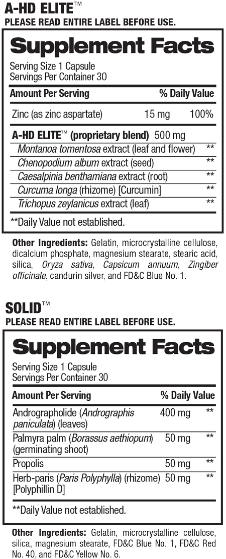 Supplement facts for A-HD Elite / Solid
