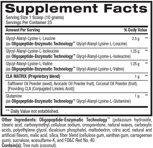 Supplement facts for Best Aminos Liquid Water Enhancer