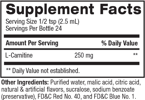 Carnitine Liquid Water Enhancer - Non-Stimulant Weight Loss Supplement Facts