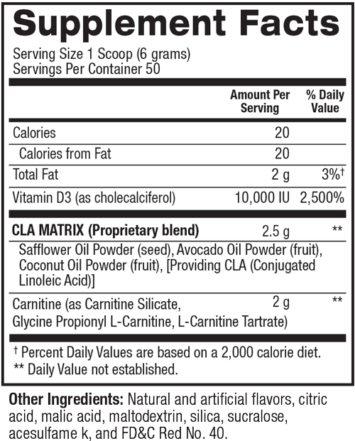 Supplement facts for CLA Plus Carnitine