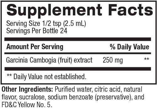 Supplement facts for Garcinia Liquid Water Enhancer