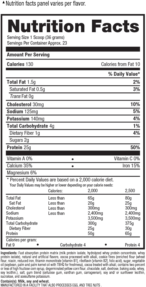 Supplement facts for ISO HD
