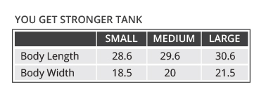 Supplement facts for You Get Stronger Tank