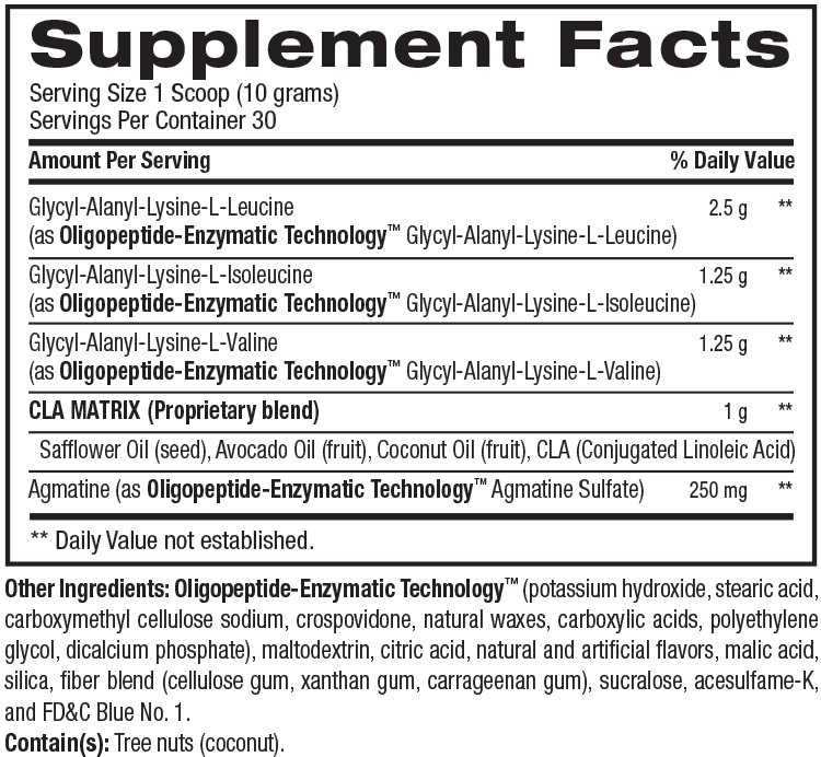 Supplement facts for Best BCAA