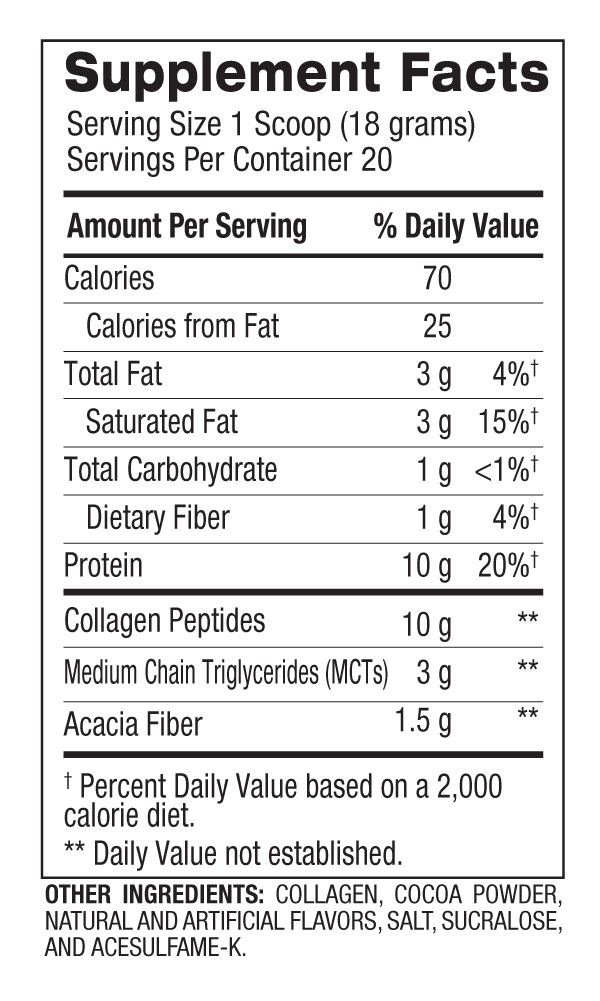 Keto Peptides™ - Hydrolyzed Collagen Peptides (20 Servings) Supplement Facts