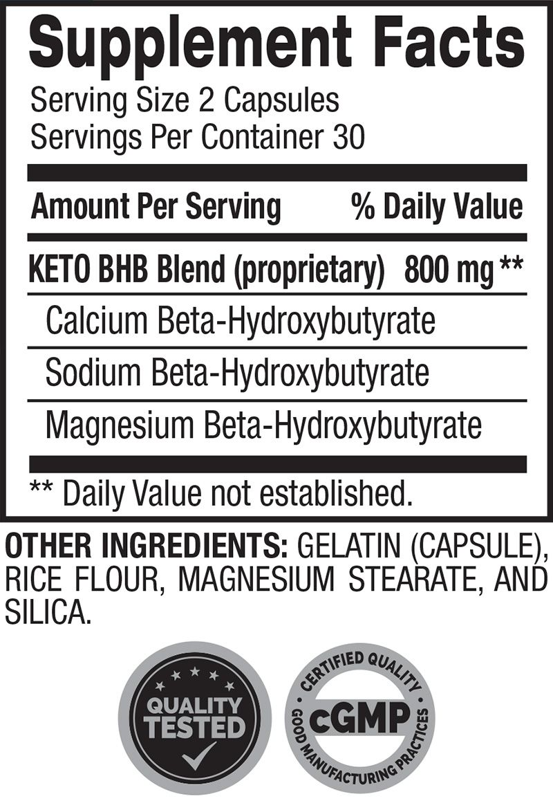 Ketogenic BHB Supplement Facts