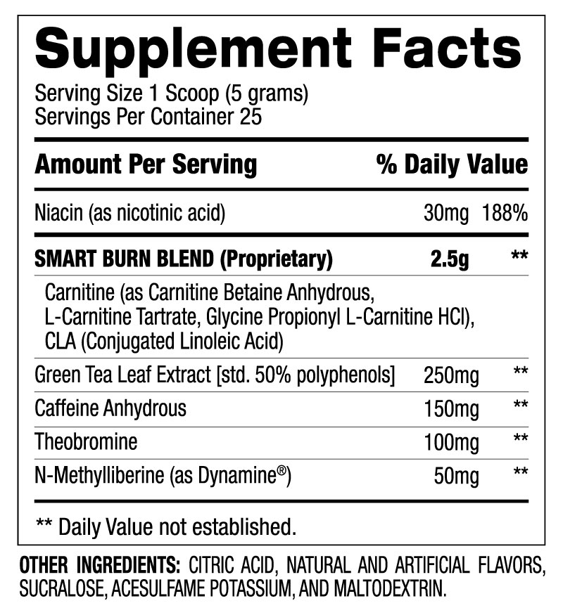 Smart Burn™ - Energy Booster (25 Servings) Supplement Facts