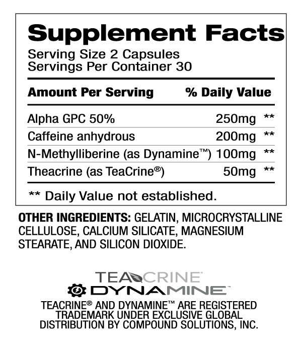 Catalyst 4 - Energy Booster (30 Servings) Supplement Facts