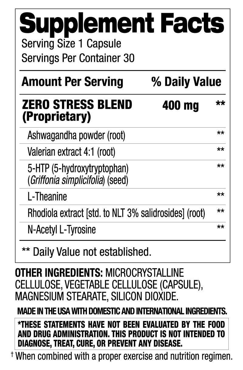 Zero Stress - Mood & Relaxation (30 Servings) Supplement Facts