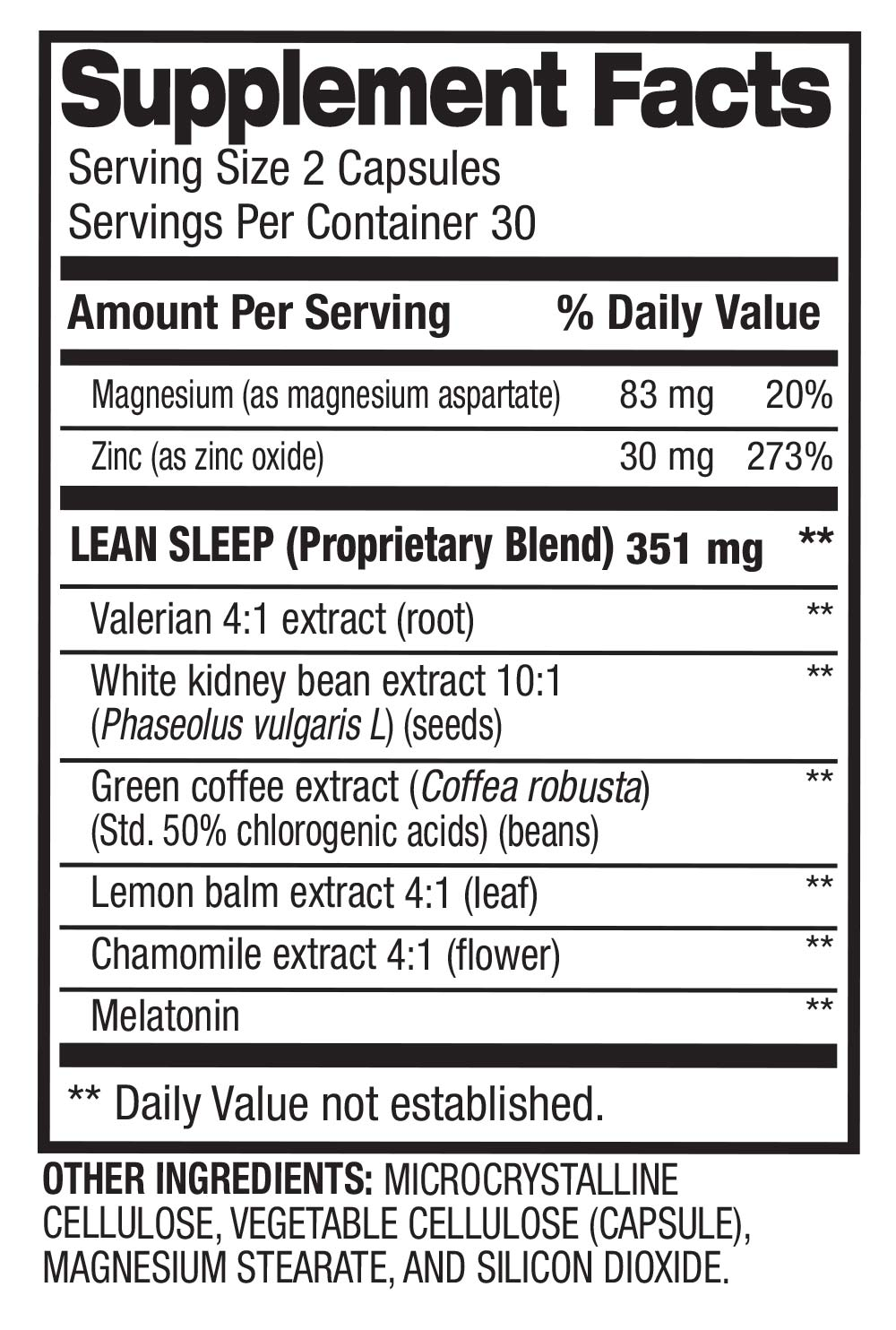 Lean Sleep - Melatonin Sleep Support Supplement Facts