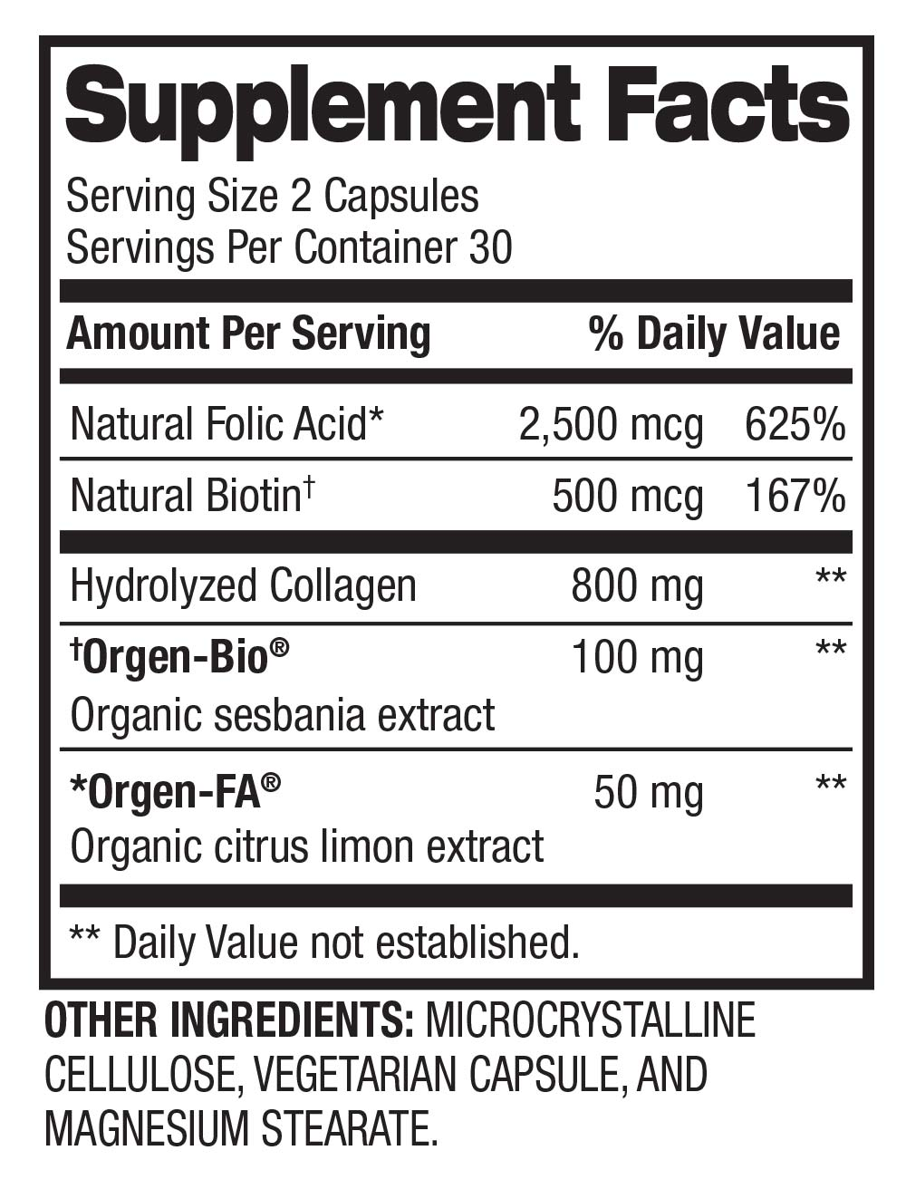 Hair, Skin, & Nails - Collagen & Biotin (30 Servings) Supplement Facts