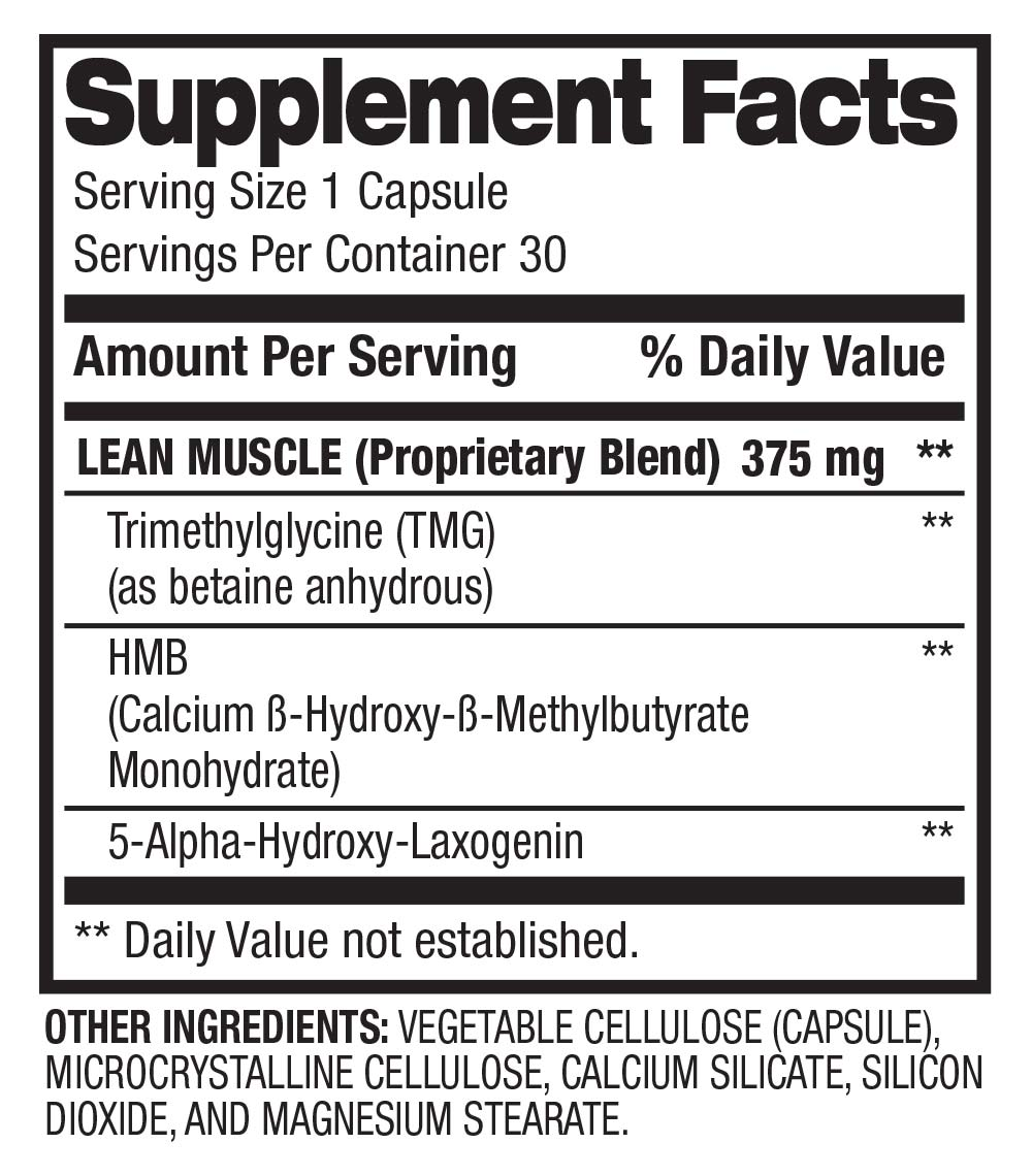 Lean Muscle Support - Muscle Strength + Power (30 servings) Supplement Facts