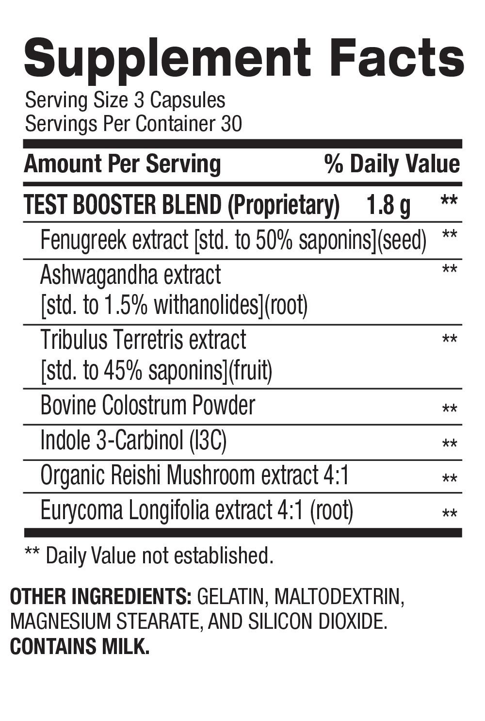 Test Booster - Lean Muscle Builder + Hormone Support (30 Servings) Supplement Facts