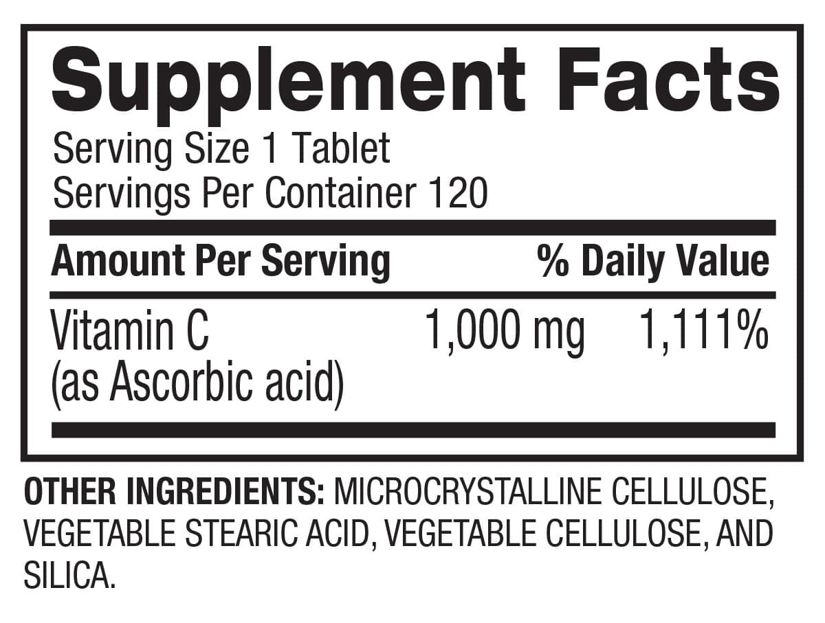 Vitamin C - Immune Support & Recovery (120 Servings) Supplement Facts