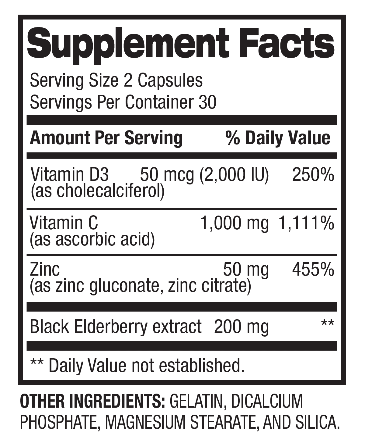 Immune Support - Health & Wellness (30 Servings) Supplement Facts