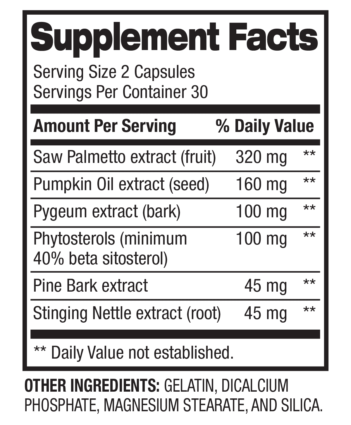 Prostate Support - Men's Health & Wellness (30 Servings) Supplement Facts
