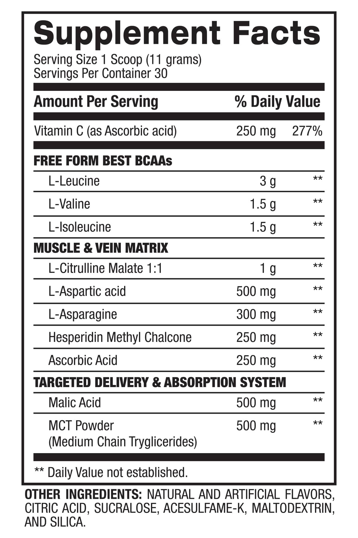 BETTER BEST BCAA - Muscle Building & Recovery (30 Servings) Supplement Facts