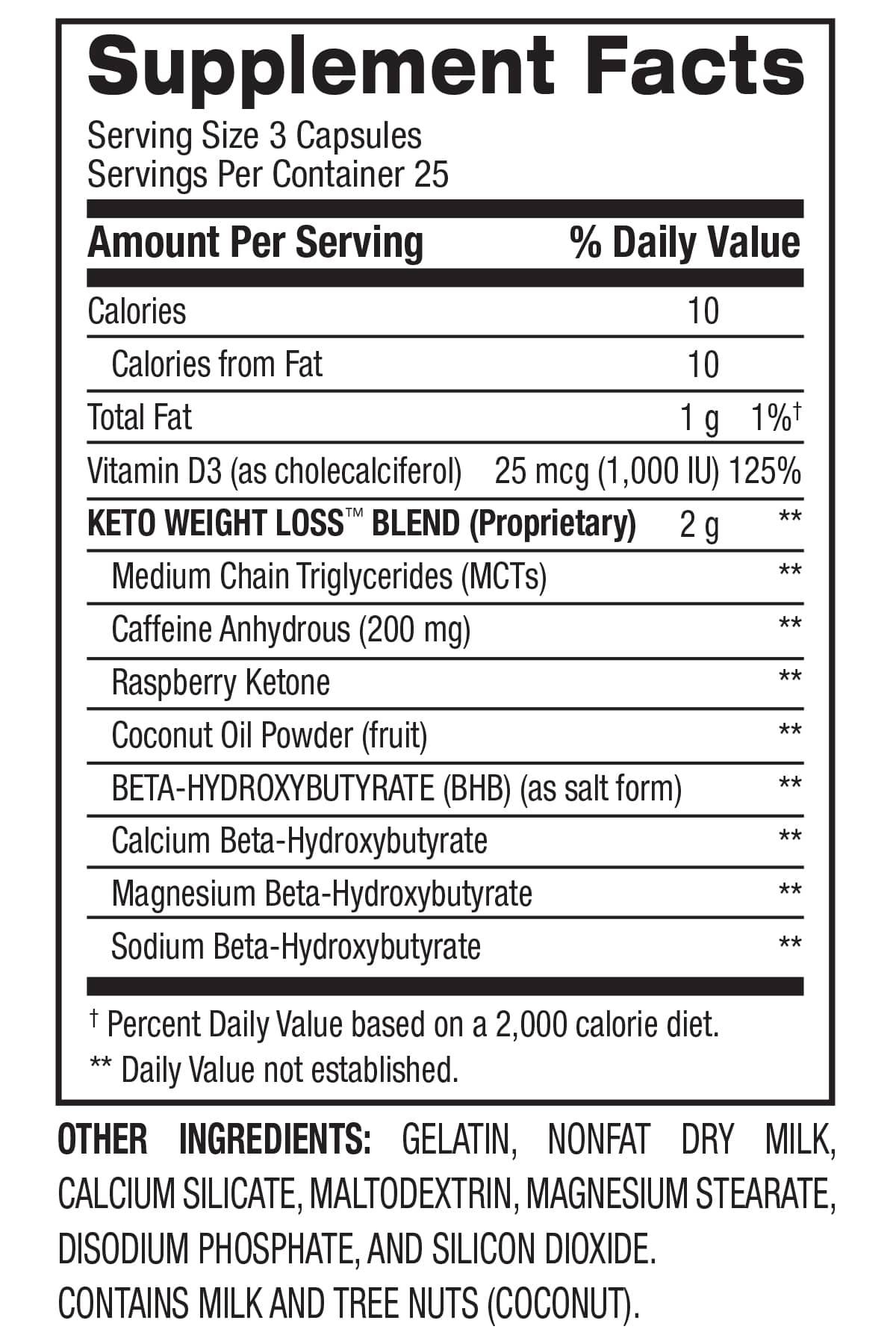 Keto Weight Loss™ - Fat Burner (25 Servings) Supplement Facts