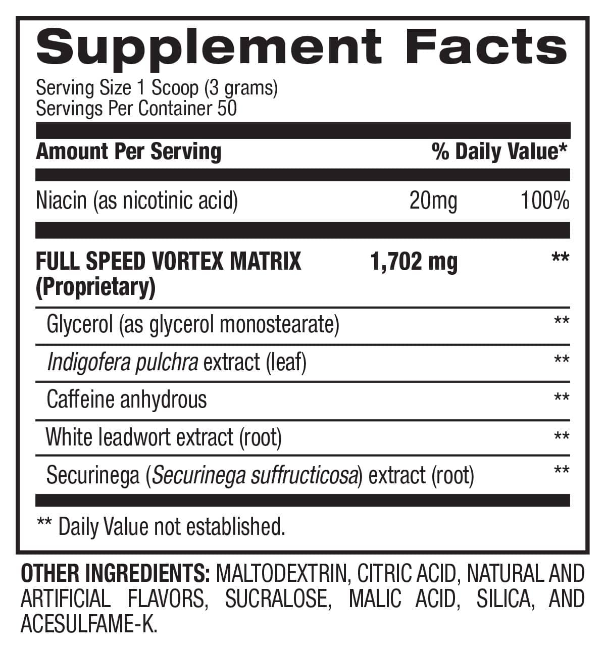 1.M.R Vortex™ - Energy Support (50 Servings) Supplement Facts
