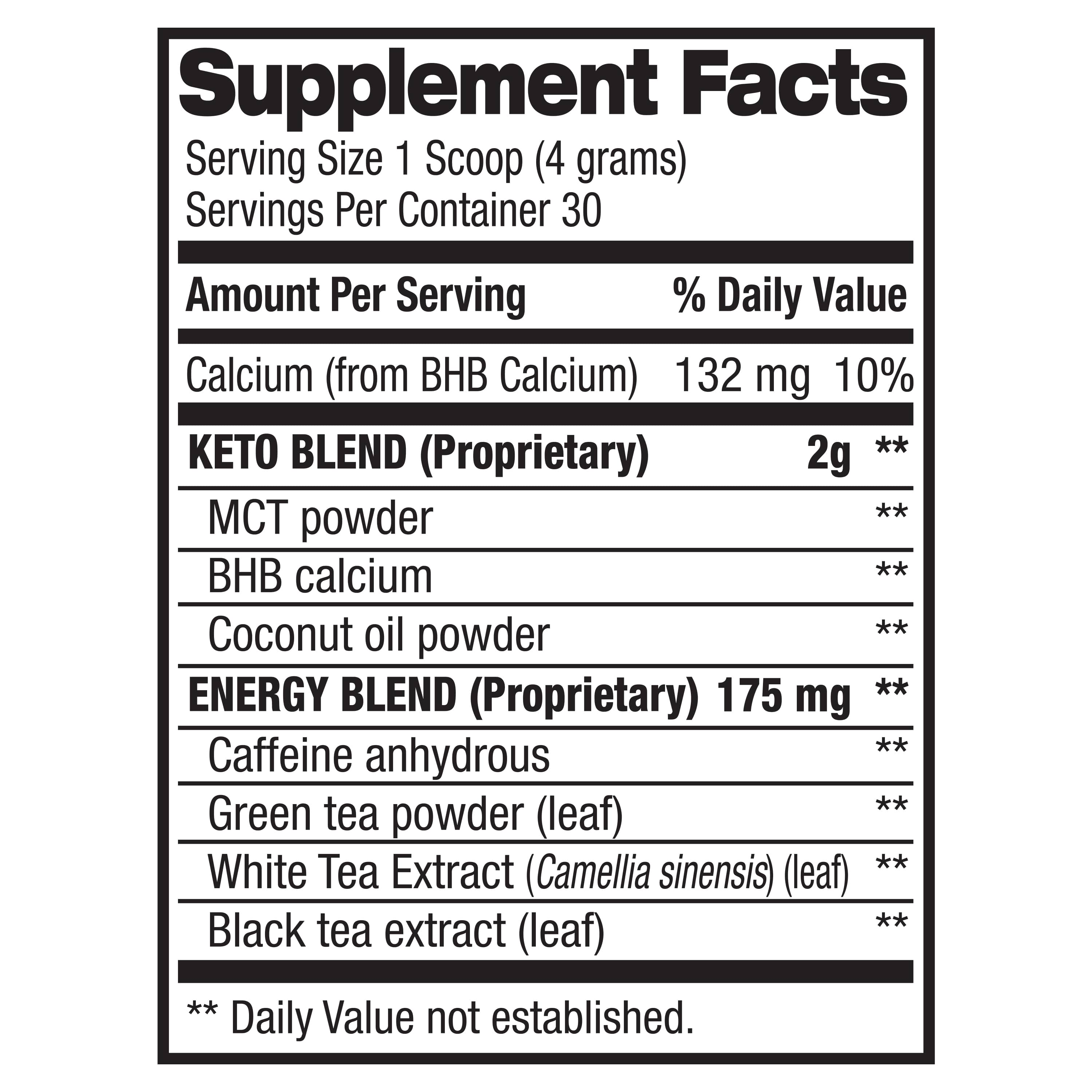 Keto Magic Powder - Weight Loss & Energy (30 Servings) Supplement Facts