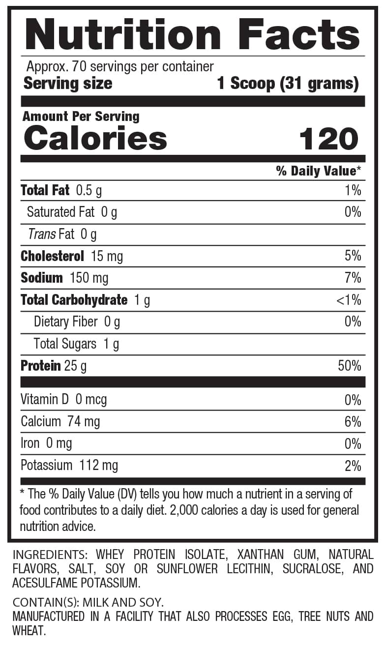 ISO'HEARN - 100% Whey Protein Isolate (70 Servings) Supplement Facts