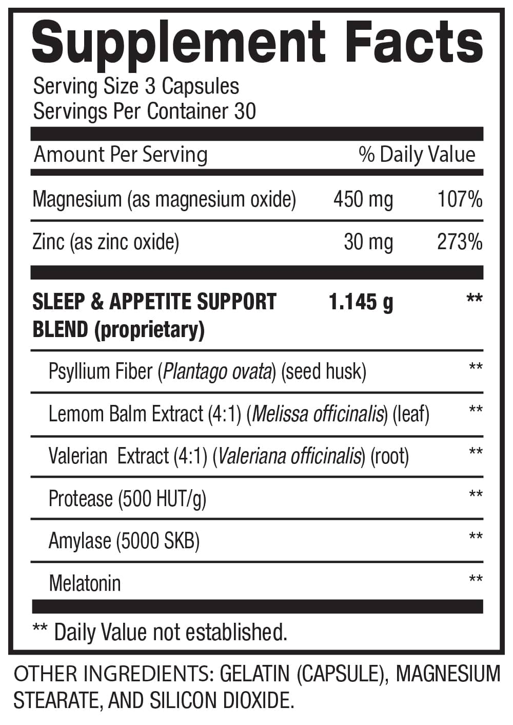 PM FAST SUPPORT - SLEEP AID AND WEIGHT LOSS (30 Servings) Supplement Facts