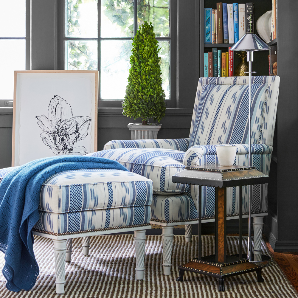 Admirable Azure Chair Ottoman Bunny Williams Home Bralicious Painted Fabric Chair Ideas Braliciousco