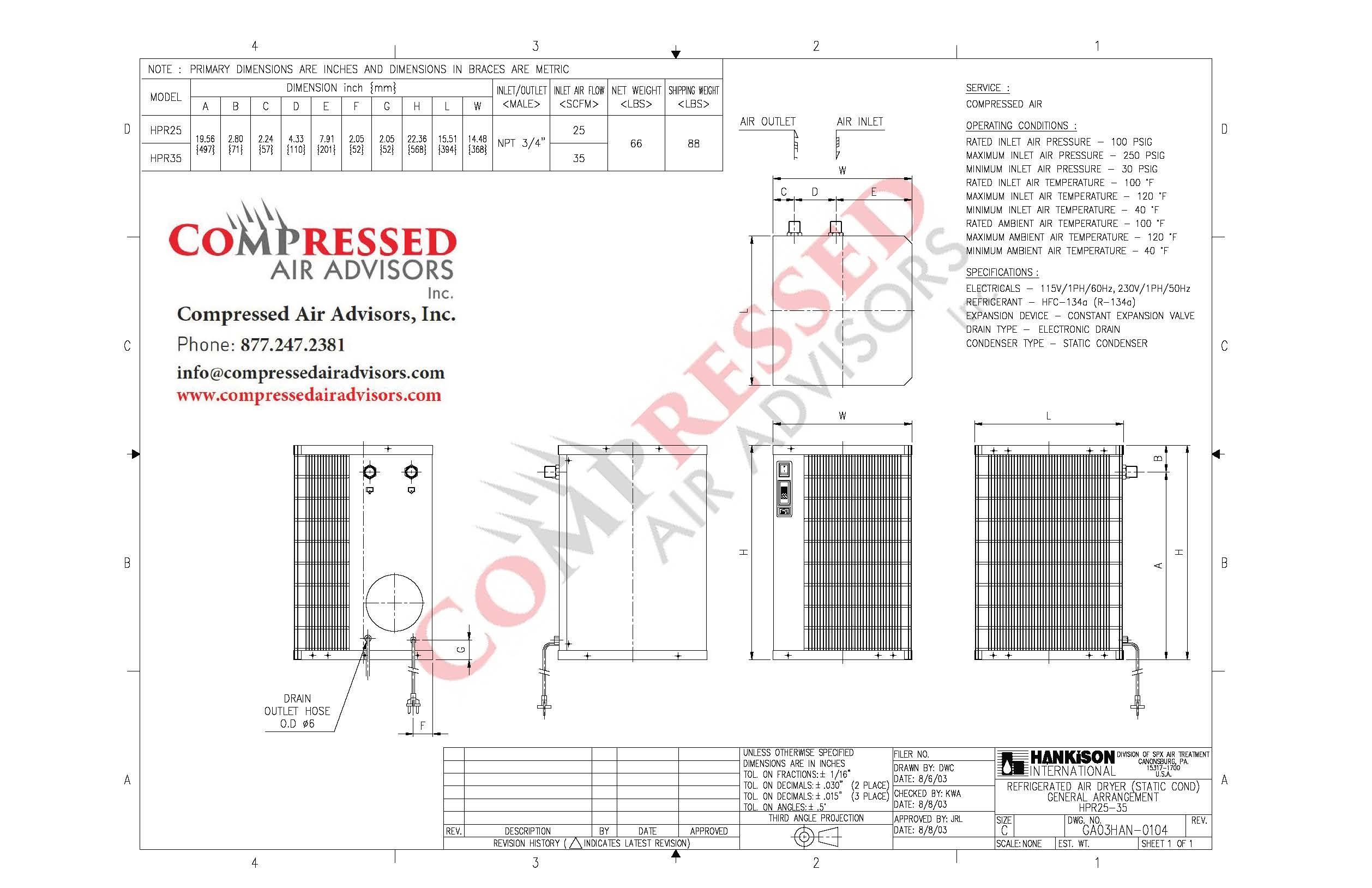 spx hankison hpr25 25 cfm non cycling refrigerated air dryer rh  compressedairadvisors com