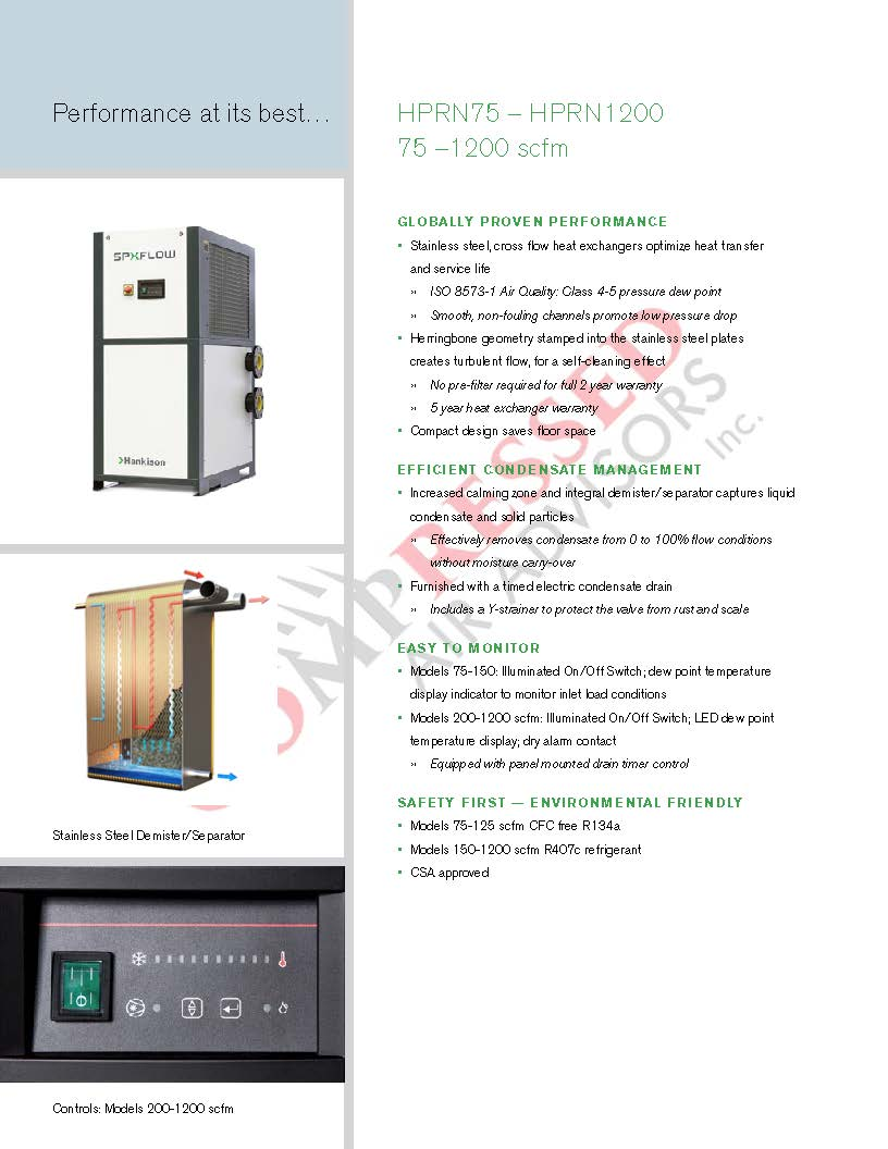 Click Here for SPX Hankison HPR &HPRn Refrigerated Air Dryer Brochure
