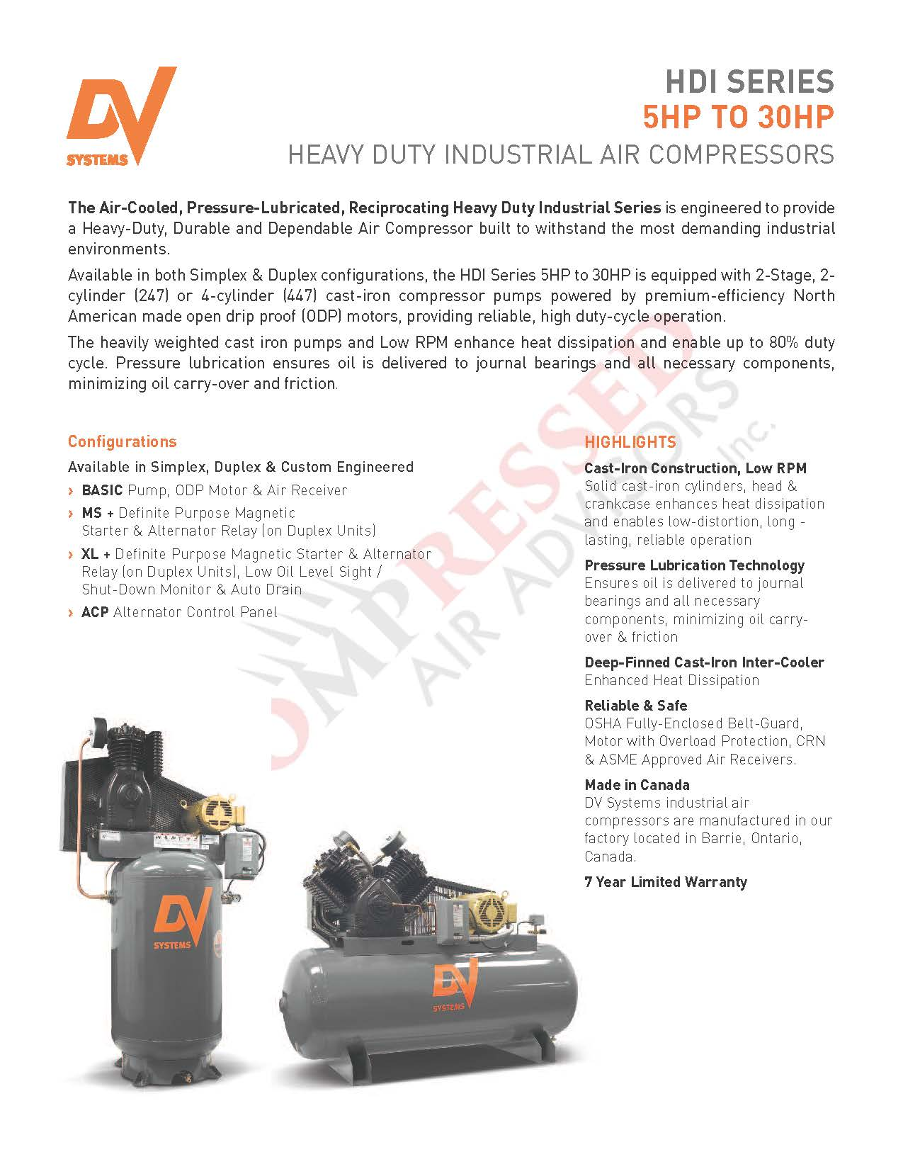 Chick Here for DV Systems HDI Reciprocating Air Compressors