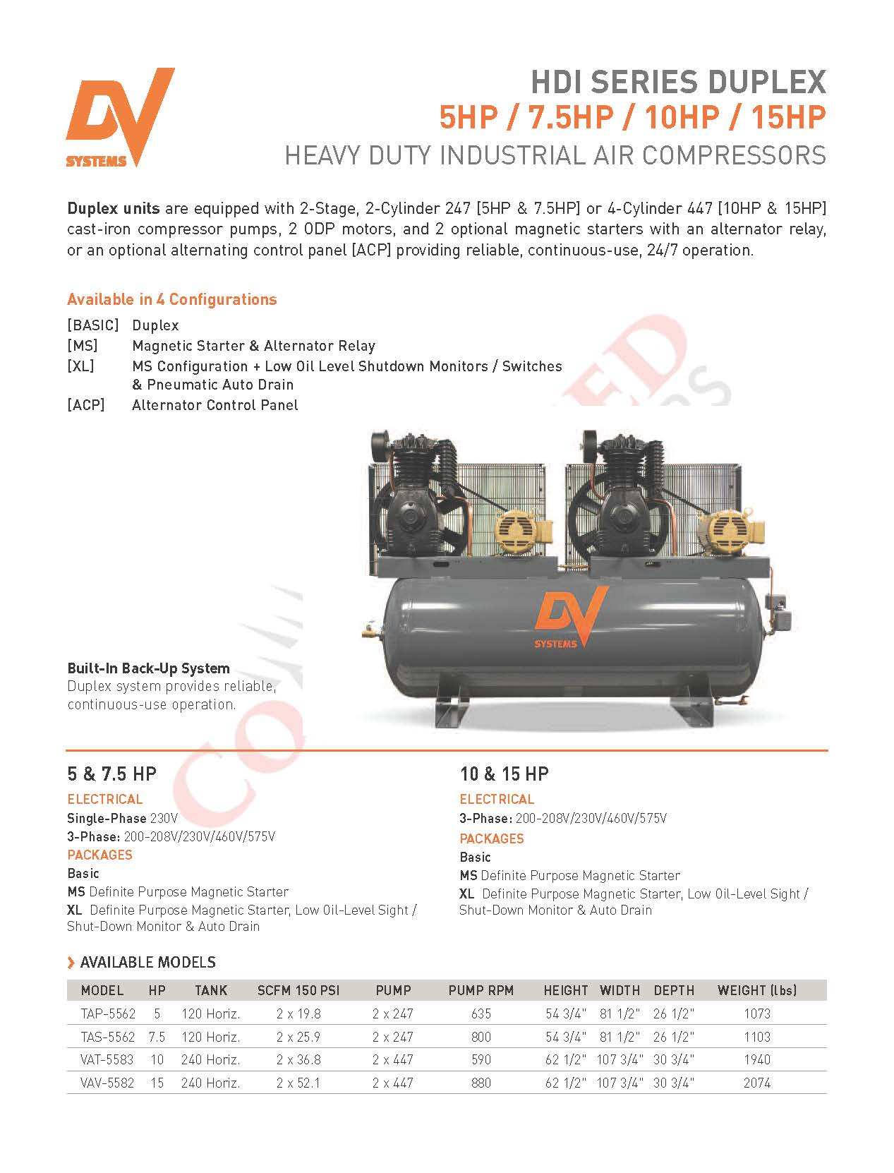 Dv Systems Vav 5062 15hp Heavy Duty Industrial Reciprocating Air Oli Rotary 2t R30 Chick Here For Hdi Compressors Brochure