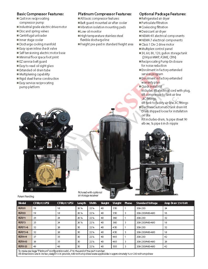 Industrial Gold - 5hp Reciprocating Cube Air System -Small Foot Print, 6  Year Warranty Available