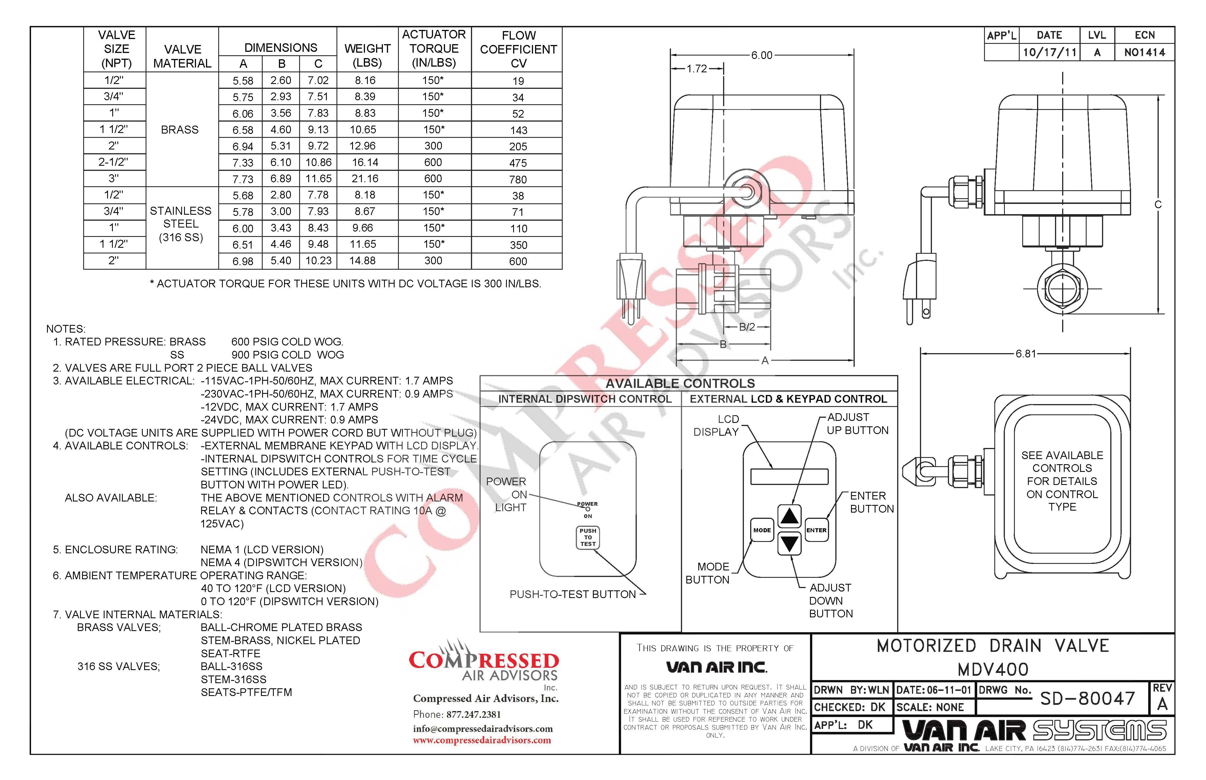 click here for van air mdv400 drain valve dimensions  instruction manual