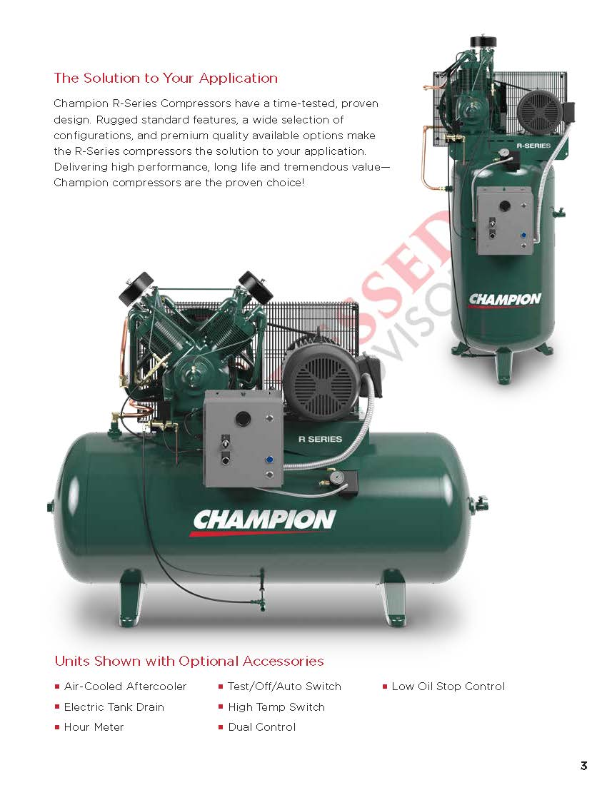 Champion VR7F-6 - 7 5hp, R Series, Two Stage Reciprocating Air Compressor,  R15 Pump, 949 RPM, 60 Gallon Vertical Air Receiver, Mounted Control Panel