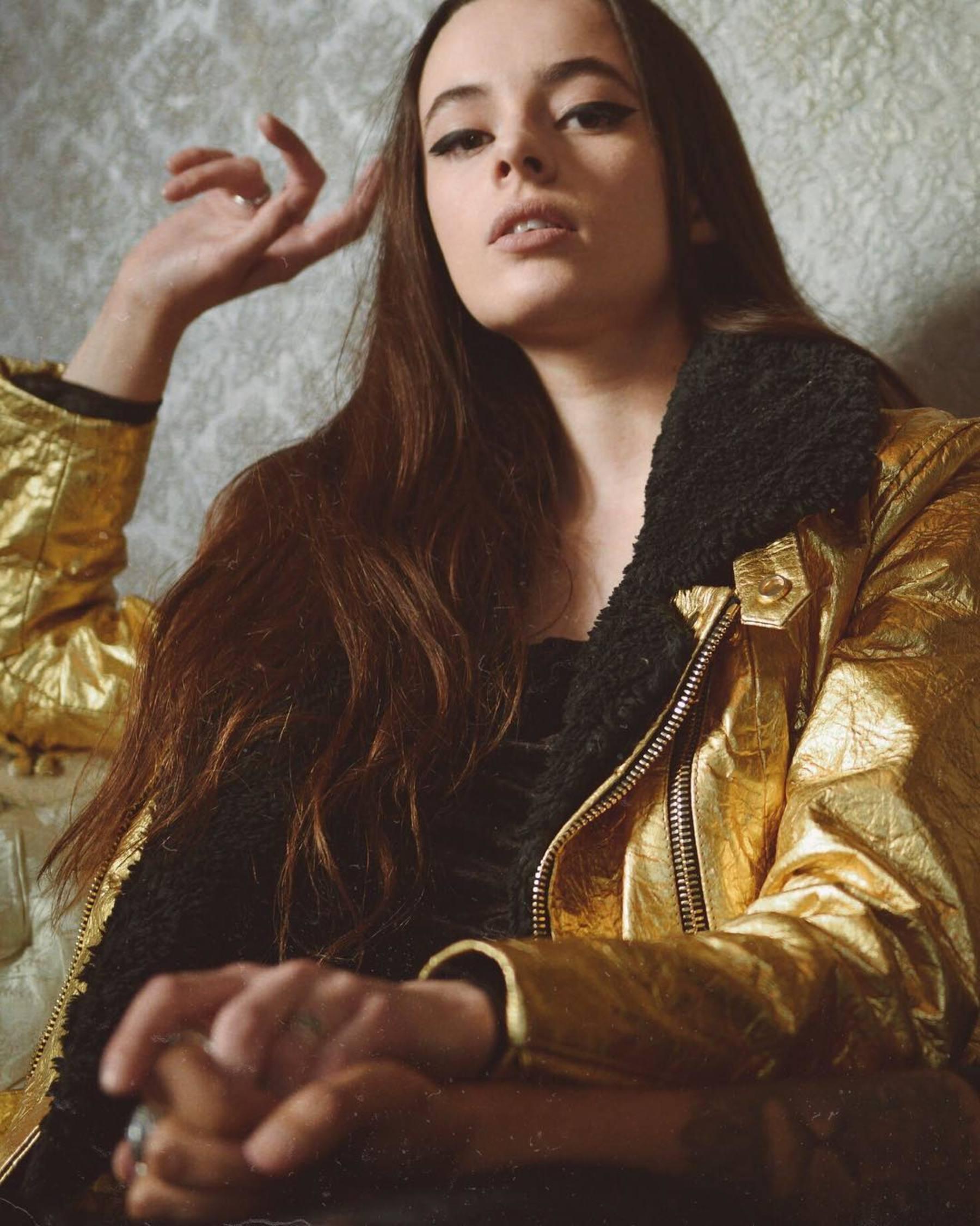 Altiir Women's Gold Piñatex Neo-Classic Biker Jacket @ Ecoture