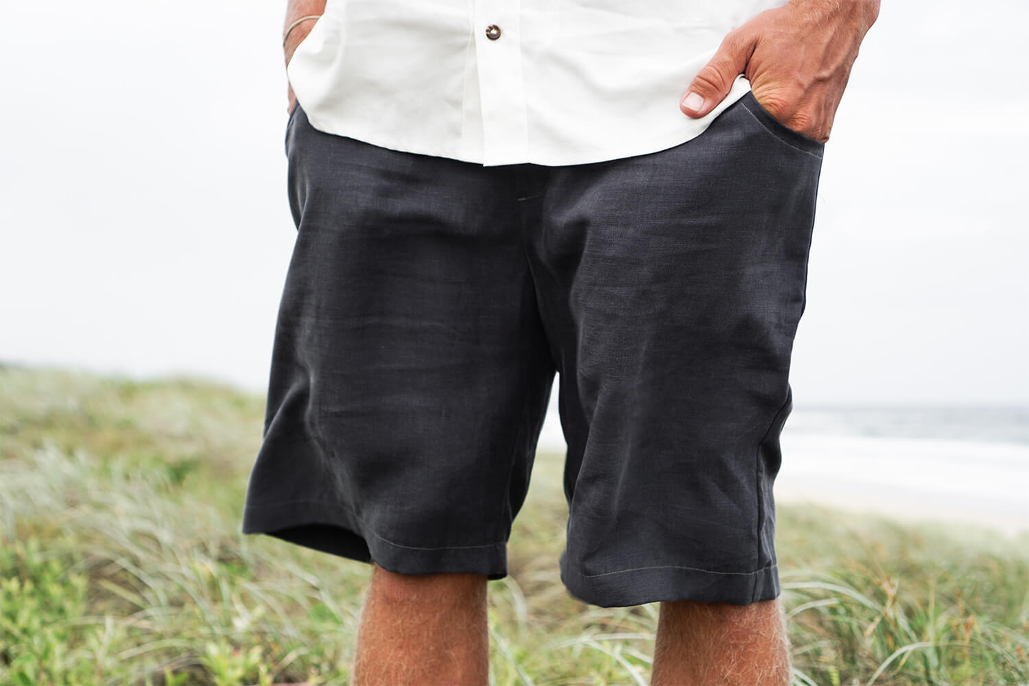 Tasi Travels' Men's Charcoal Roamer Shorts are handmade from a sustainable blend of Tencel & Hemp