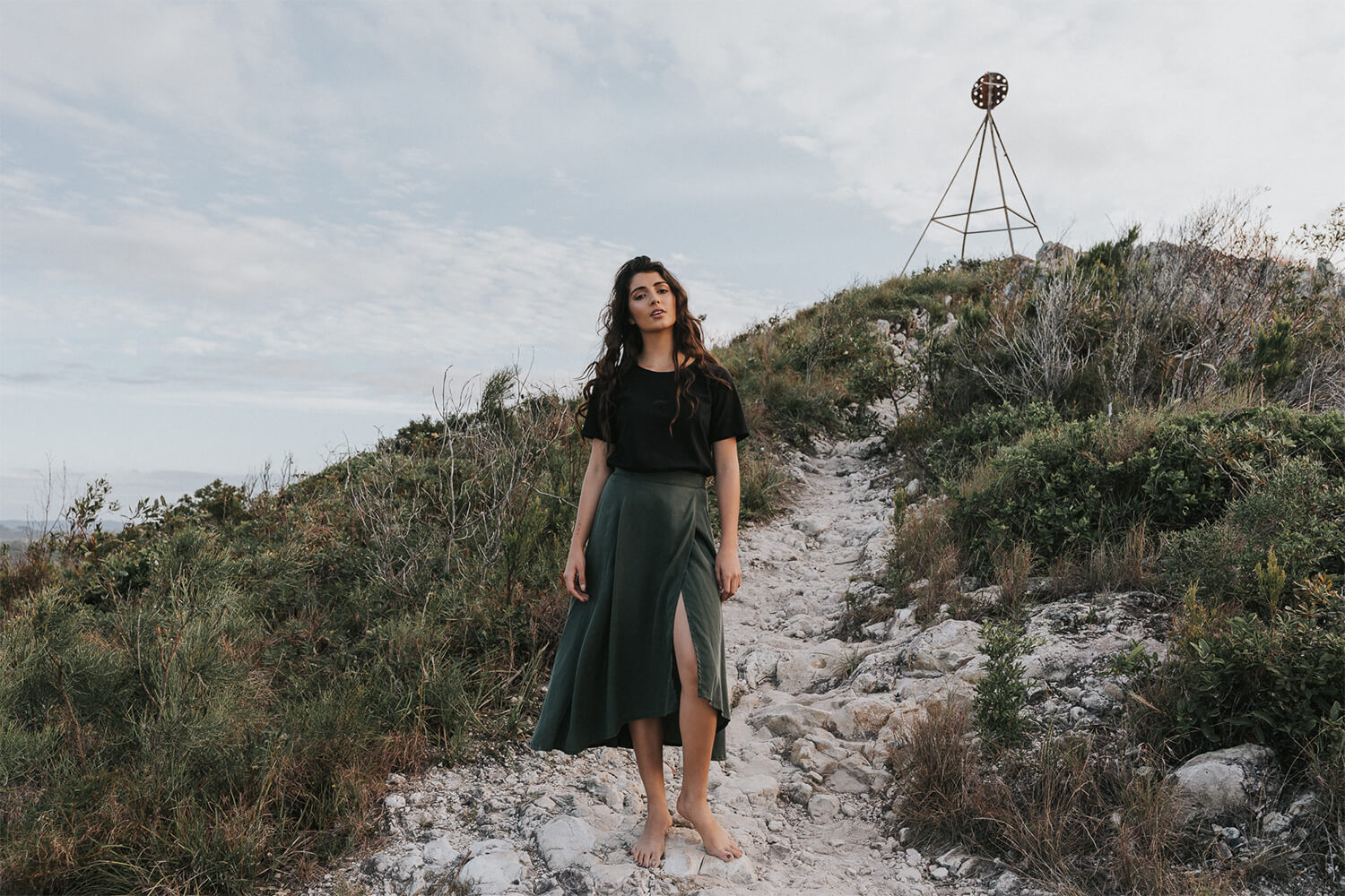 Tasi Travels' Moss Wilder Wrap Skirt is handmade from sustainable Tencel