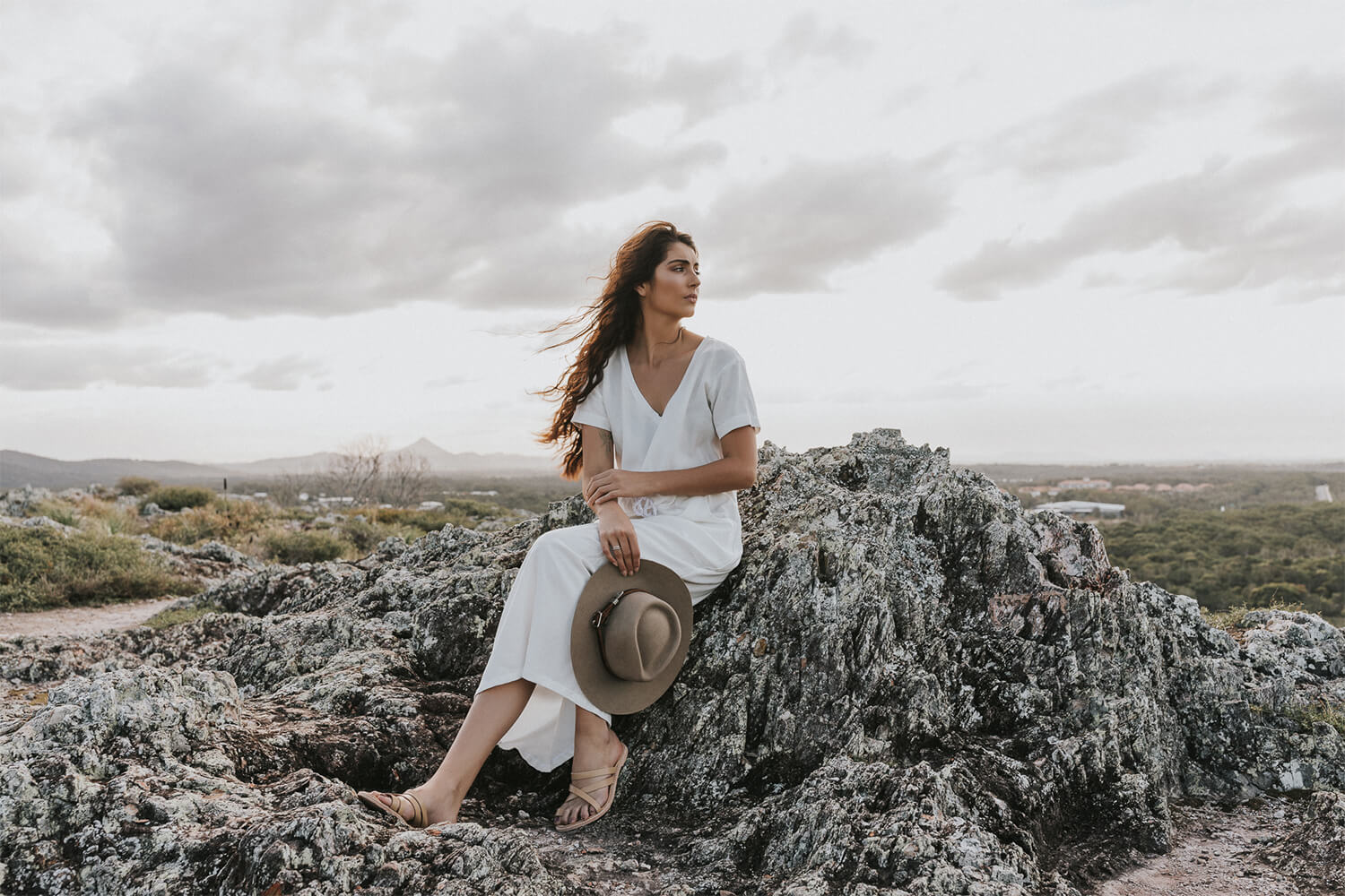 Tasi Travels' White Nomad Maxi Dress is handmade from a sustainable Tencel & hemp blend