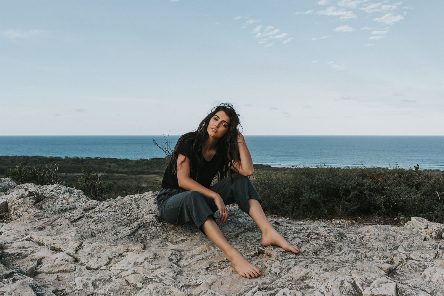 Tasi Travels' Women's Charcoal Roamer Pants are handmade from a sustainable Tencel and Hemp blend
