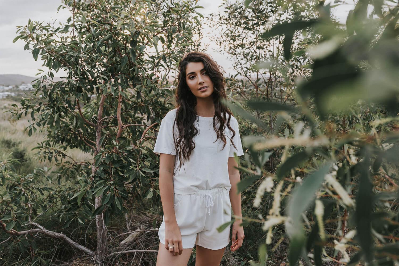 Tasi Travels' Women's White Roamer Shorts are handmade from a sustainable Tencel & hemp blend