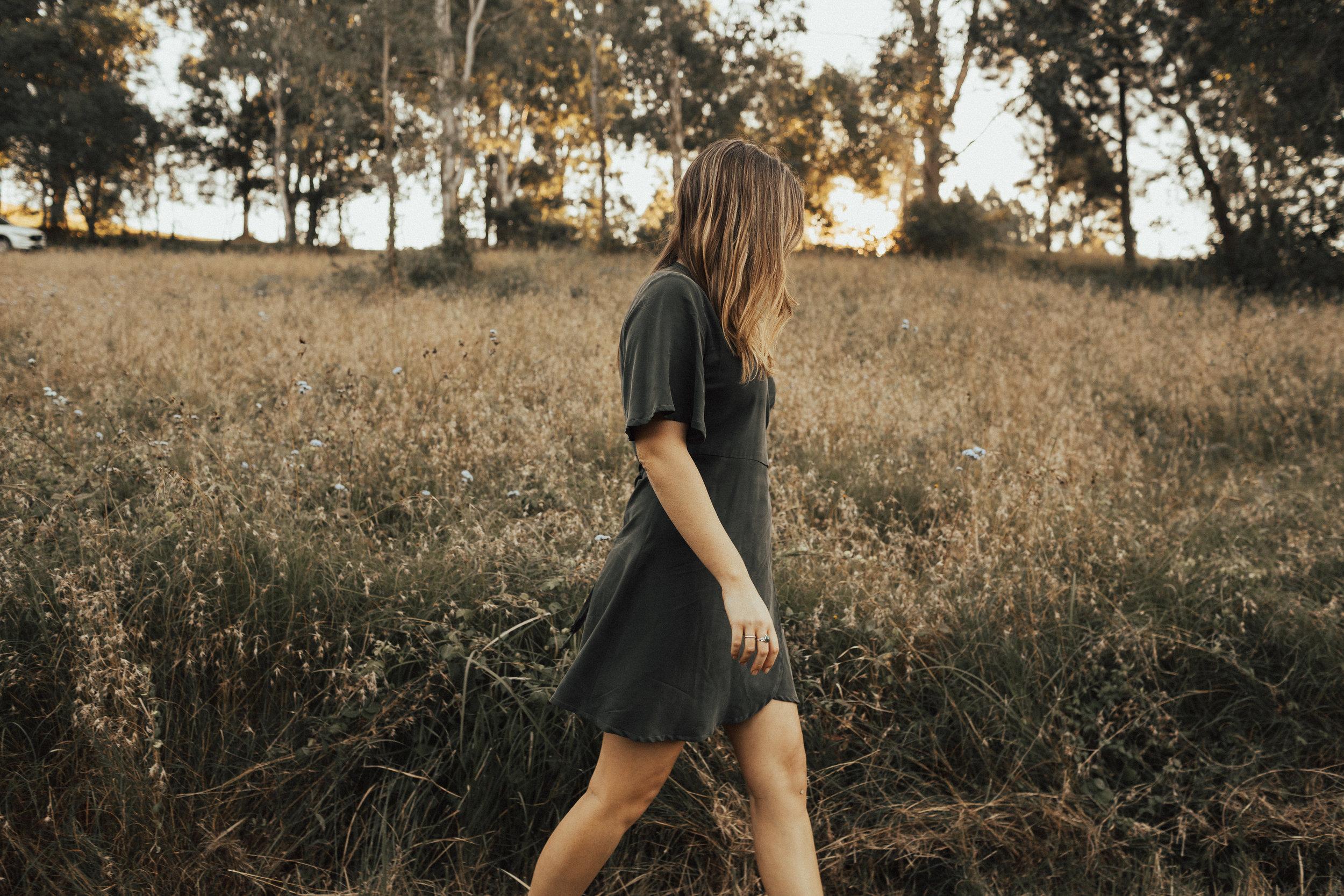 Tasi Travels' Moss Wilder Wrap Dress is handmade from sustainable Tencel