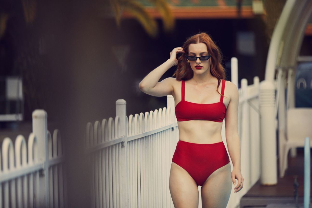Made using ECONYL® recycled nylon, the Red Velvet Audrey Bikini Brief from BAABY is sustainable luxury swimwear