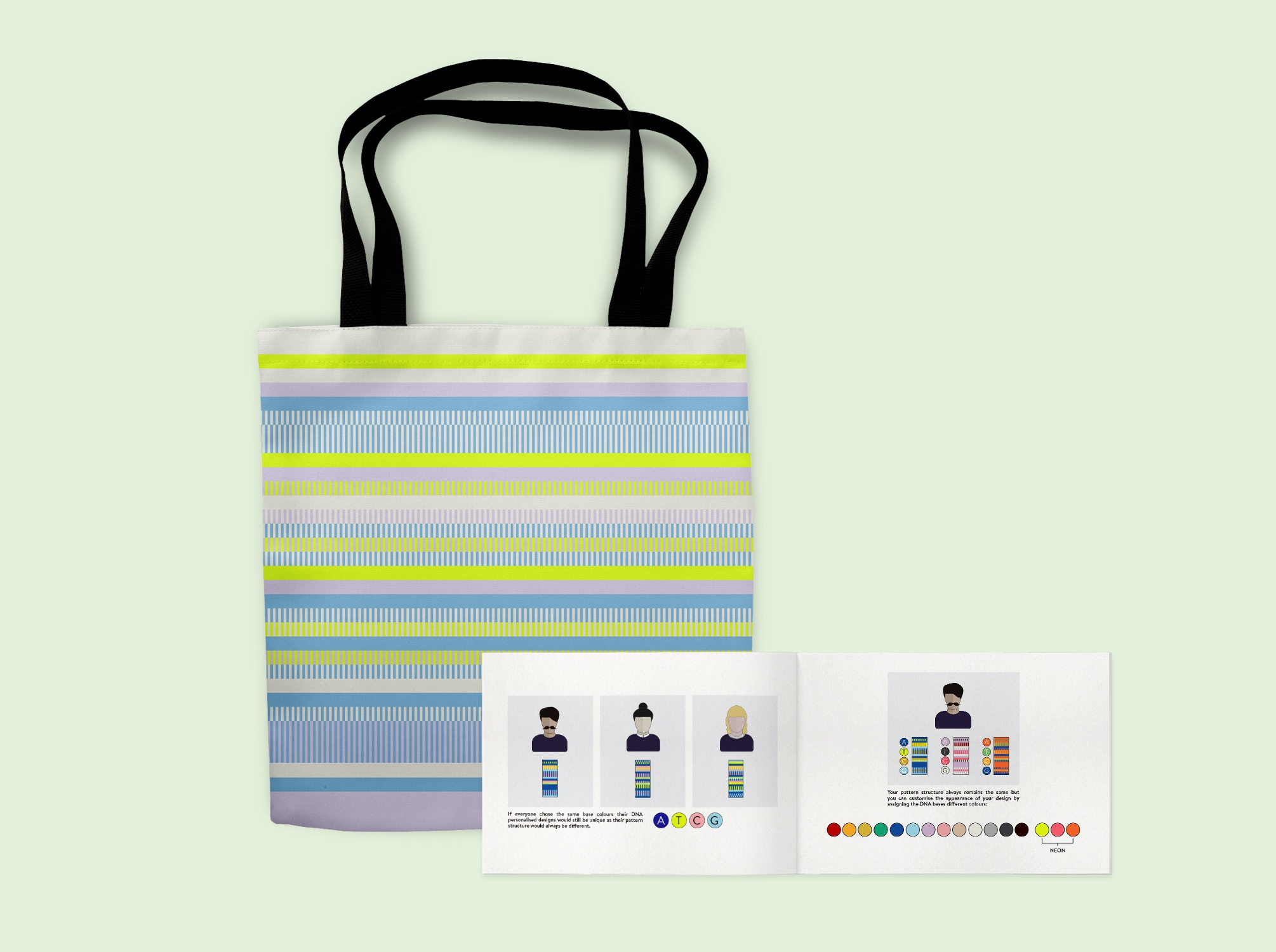 <p><strong>The most entertaining tote you'll own</strong><br>The illustrated booklet is a simple and fun way to learn about DNA sequencing. It also comes with a key so you can decode the information visualized in your personalized design.</p>
