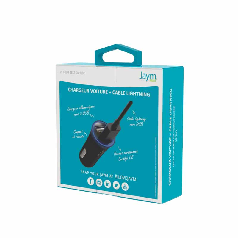 COMBO CABLE LIGHTNING 1M + CHARGEUR VOITURE 2 USB 12W Jaym Smartphones - Hubside.Store- image 1