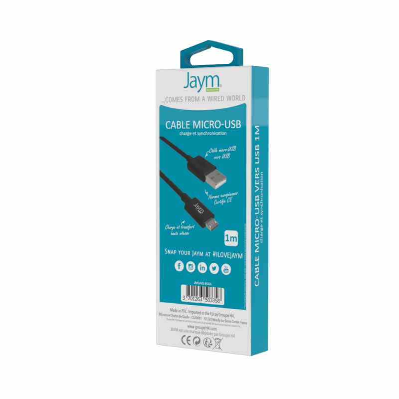 CABLE USB CHARGE & SYNCHROMICRO USB 1M NOIR - JAYM Jaym Smartphones - Hubside.Store- image 2