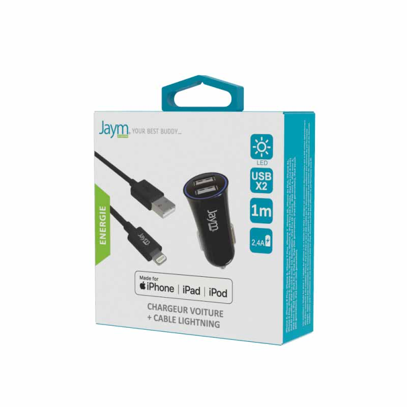 PACK CHARGEUR VOITURE 2 USB 12W 12-24V + CABLE USB VERS LIGHTNING MFI- image 1