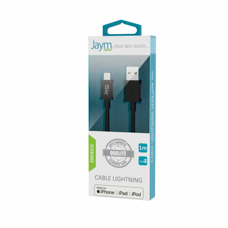 CABLE USB CHARGE & SYNCHRO LIGHTNING MFI 1M- image 1