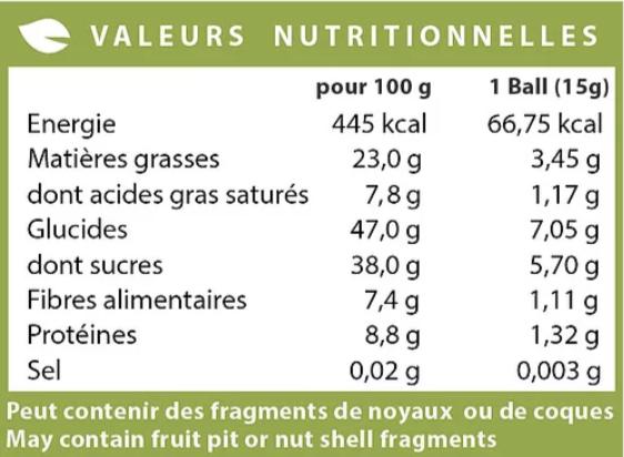 energy bliss balls valeurs nutritionnelles