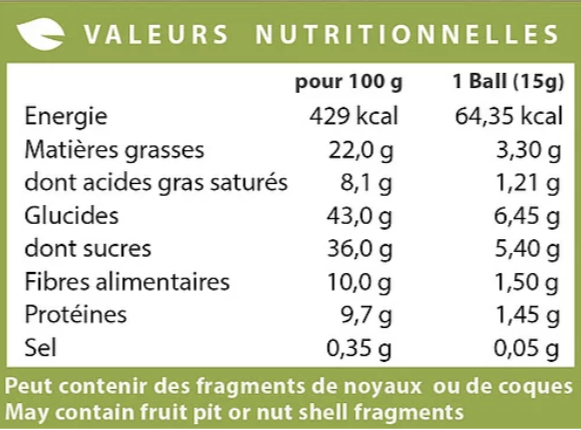 energy bliss balls cacao raw valeurs nutritionnelles